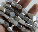 Moonstone Silver Coated Faceted Nuggets Beads