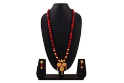 OXJ012 Oxidized Red Glass Beads Necklace