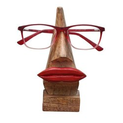 Home Decor Carving Handmade Wooden Nose Shaped Eyeglass Stand Specs Holder