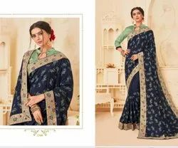 Dot Exports Party Wear Stylish Embroidered Sarees