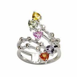 Designer White Gold Multi Sapphire Ring