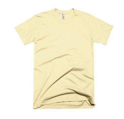 Light Yellow Plain T Shirt Size S 36 M 38 L 40 Xl 42 2xl 44 Rs 299 Piece Id 19246064048