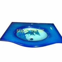Blue Printed Glass Wash Basin