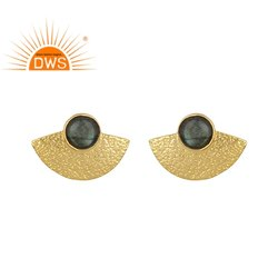 Gold Plated Textured 925 Silver Labradorite Gemstone Stud Earring Jewellery