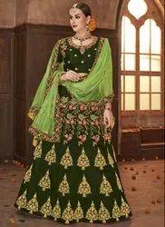 Mehendi Green Embroidered Silk Lehenga Choli