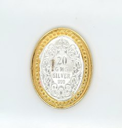 Victoria Queen Gold Polish Oval Silver Coin 20 gm.