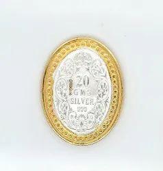 Victoria Queen Gold Polish Oval Silver Coin 20 gm.