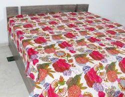 Tropicana Kantha Bedcover Fruit Design Kantha Quilt