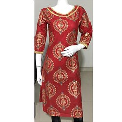 Cotton Gold Printed Embroidery Kurti