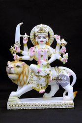 Raj Creations Marble Durga Statue