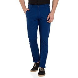Blue Cotton Mens Trousers
