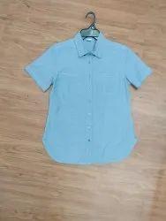 Half Slevee Slim Fit Organic Cotton Chambray Ladies Shirt