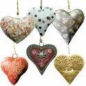 Golden Glittering Heart Hanging Iron Sheet