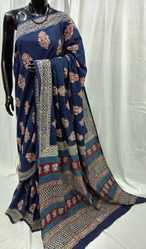 Navy Blue Hand Block Printed Saree