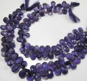 Natural Amethyst Pear Shape Briolette Faceted Beads Size 8x12mm To9x14mm Strand 10 Inches