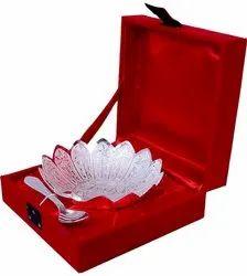 German Silver Bowl Set With Red Velvet Box