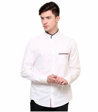 f75d5ee3e9d White Band Collar Smart Casual Shirt