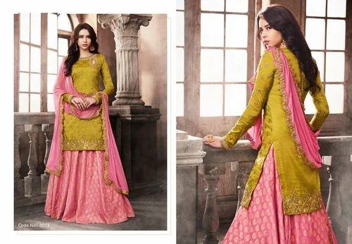 dddb8408cb Olive Party Wear And Wedding Wear Heavy Bridal Two Style Salwar Suit ...