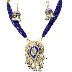 Jaipuri Purple Lacquer Necklace Set 175