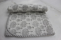 Flower Print Kantha Cotton Baby Quilt