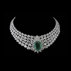 Real Diamonds Round Fancy Couture Diamond Necklace, Weight: 86.59