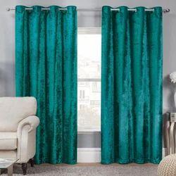 Sky Blue Plain Velvet Window Curtain