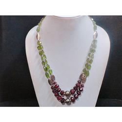 Peridot and Ruby Gemstone Beaded Necklace