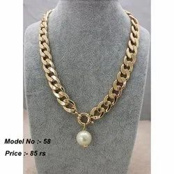 Golden Metal Fashion Chain Necklace, Party