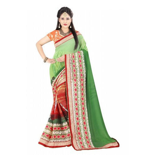 6e44dd66910a3 Printed Party Wear Ladies Georgette Saree