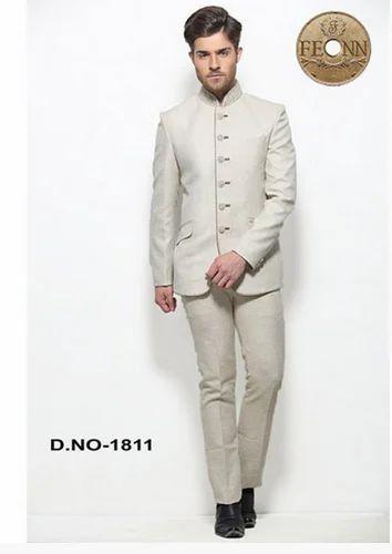 dda5756b3 Jodhpuri Men Wear - Beige Jamawar Plain Men Jodhpuri Coat Suit ...