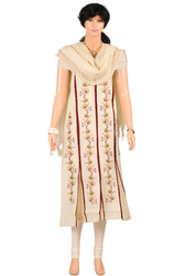 Cream Fleet Type Salwar Kameez Material