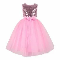 Pink Sequince Embellished Kids Girls Party Dress