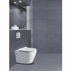 White Wall Mounted Western Toilet, for Bathroom Fitting, Packaging Type: Box
