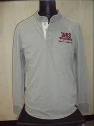 Men Full Sleeves Henley Neck T Shirt, Size: Large