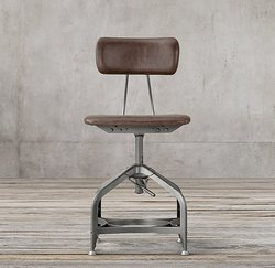 Industrial Dinning Stool, Leather Seated Cafe Stool