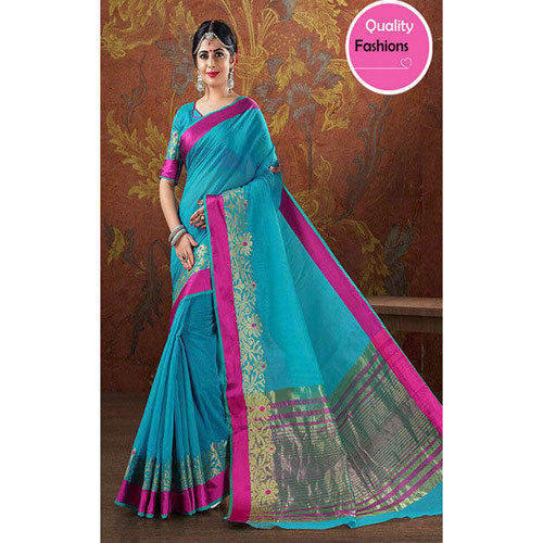 ada2837c2d Quality Fashions Multi-color Simple Border Sarees, With Blouse Piece ...