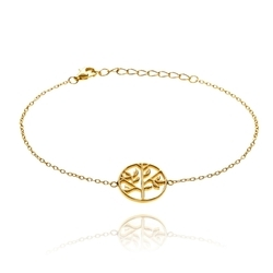 Hot Charm Tree design Micron Gold PLated Chain Womens Bracelet