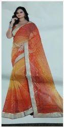 Orange Chunari Printed Rosy Silk Saree