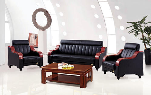 Black And Beige Wood PU Sofa Set ( 3 1 1)