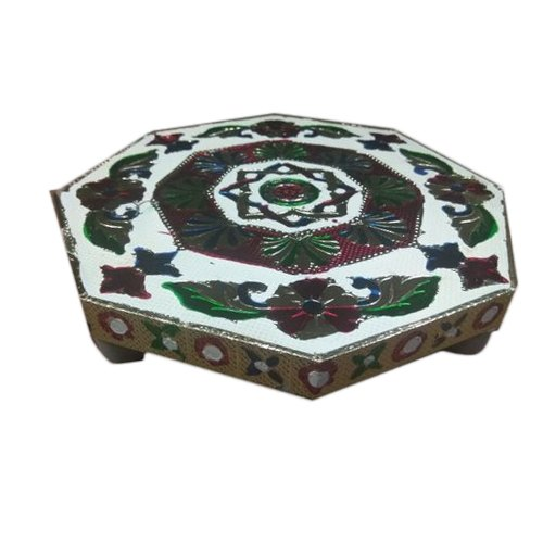 Wooden Meenakari Octagonal Chowki