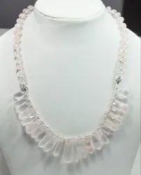 Sterling Silver Rose Quartz High End Furnished Necklaces