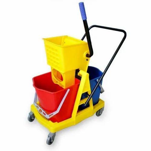 Plastic Mop Double Bucket Wringer Trolley, Bucket Capacity: 10 - 100 Kg, for For Handling Materials