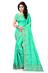 Self Design Silk Light Green Saree