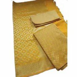 Ladies Party Wear Yellow Banarasi Silk Suit