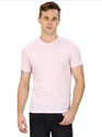 Pintapple Solid Mens Round Neck Pink T-Shirt