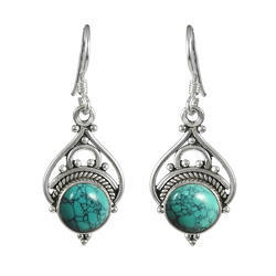 Turquoise Gemstone Silver Earrings