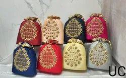 Handled Party Potli Bag Zardosi Hand Work Bag