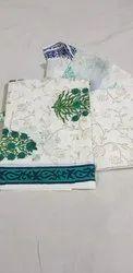 Hand Block Printed Cotton Dress Materials With Chiffon Dupatta