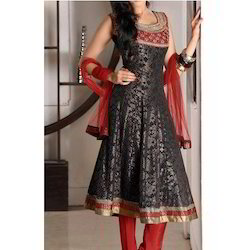 Black, Golden And Red Party Wear Designer Salwar Kameez