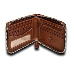 Brown Female Zip Around Leather Wallet